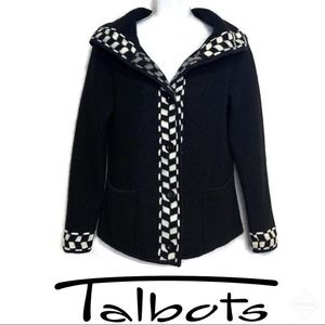 Talbots Wool Jacket w/ Checkered Detail Sz S